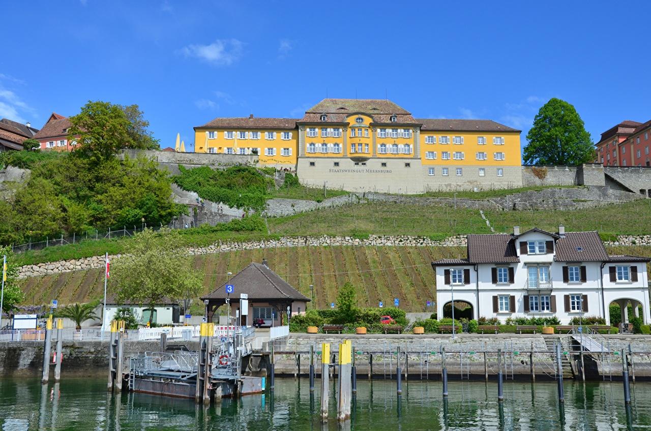 Wallpaper Germany Castles Lake Berth Houses Cities castle Pier Marinas Building