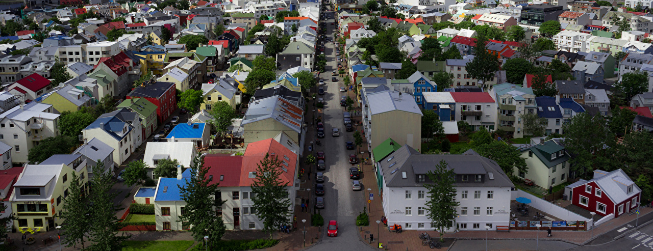 Photo Iceland Reykjavik Roof Street Houses Cities Building