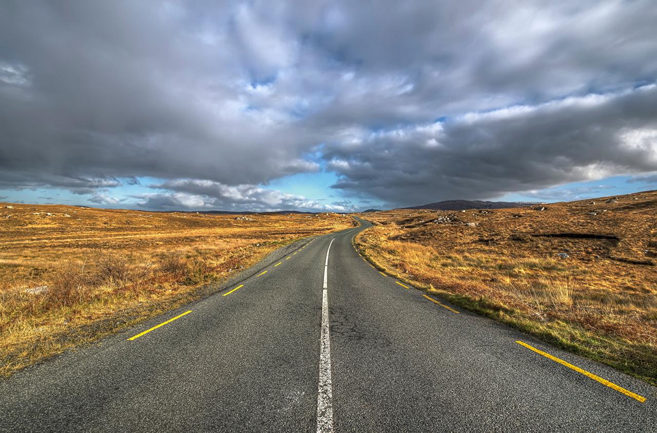 Fotos Irland Donegal Natur Wege Wolke Straße