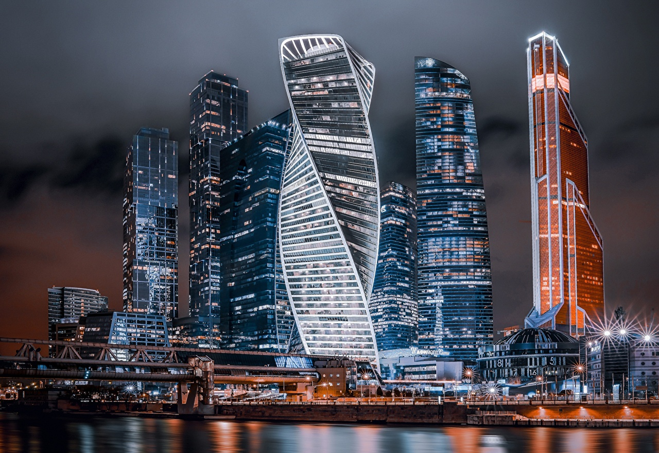 Photos Russia Moscow City Night Skyscrapers Houses Cities night time Building