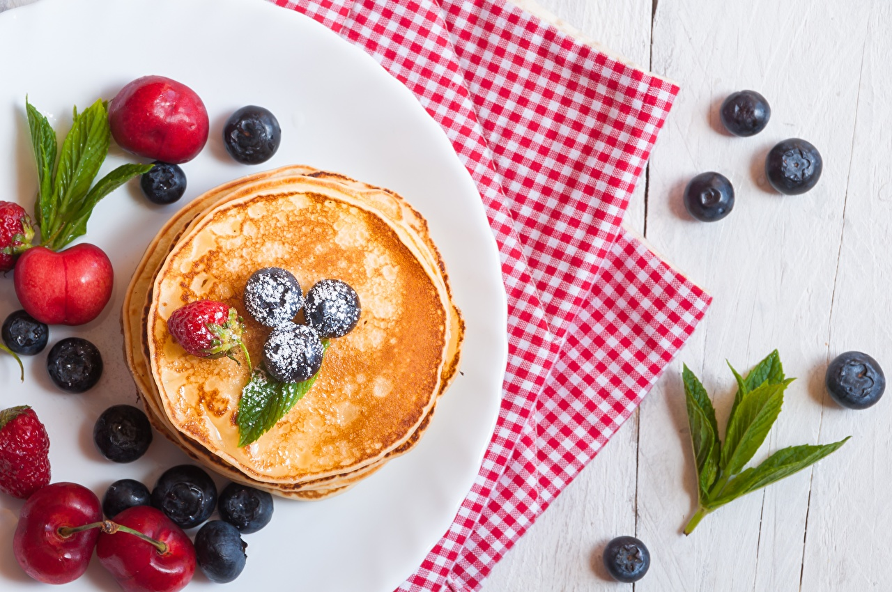 Photo Pancake Blueberries Food Berry hotcake