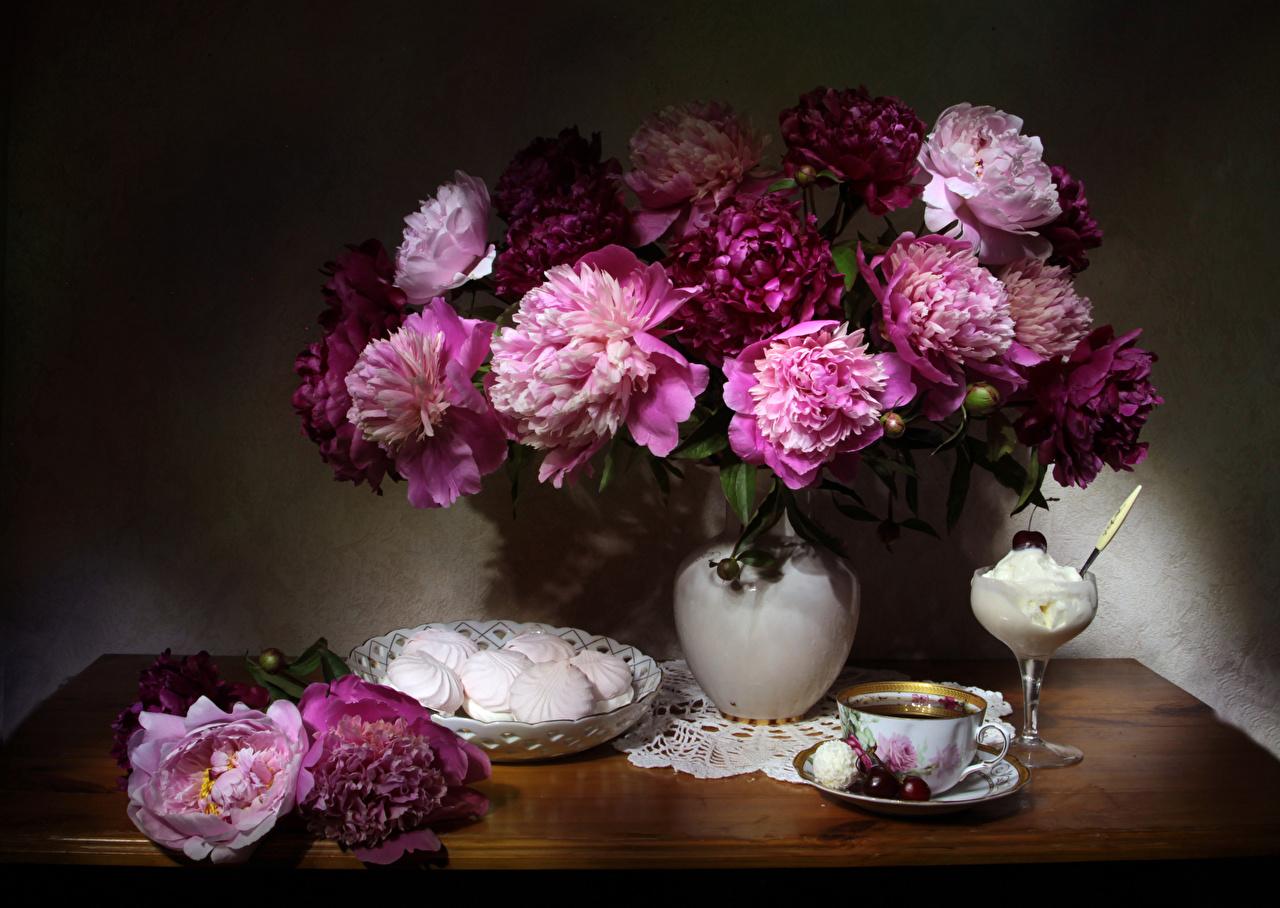 Photos Tea Zefir Ice cream paeony Cherry Flowers Cup Vase Still-life peony flower Peonies