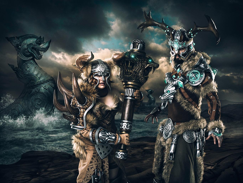 Fonds d'ecran Guerrier Homme Casque Armure Deux Vikings Fantasy Filles télécharger photo