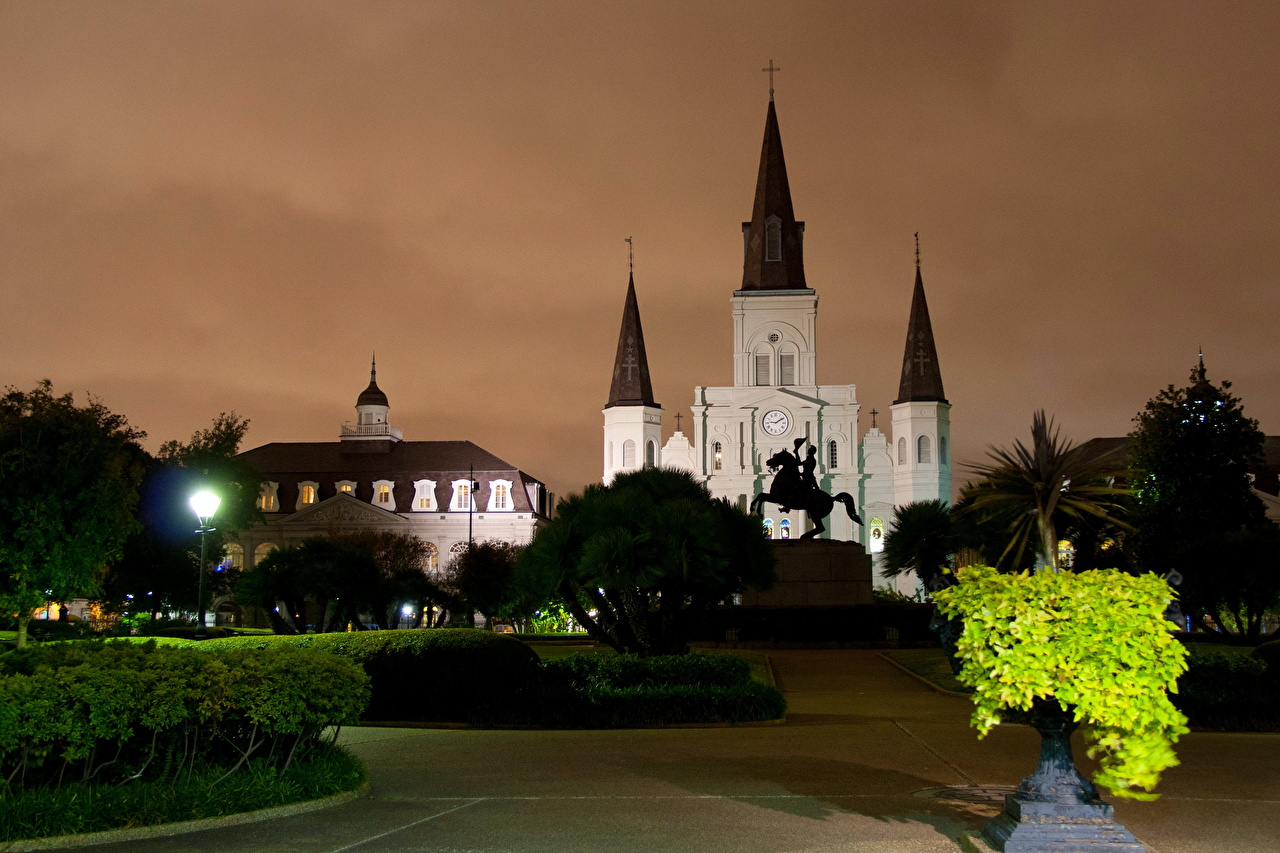 Picture USA New Orleans temple night time Cities Night Temples