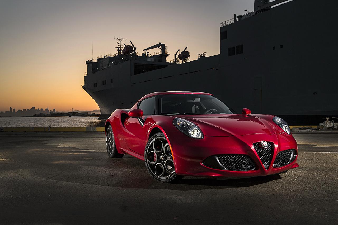 Picture Alfa Romeo 2015 4C burgundy auto Night Metallic maroon dark red Wine color Cars night time automobile