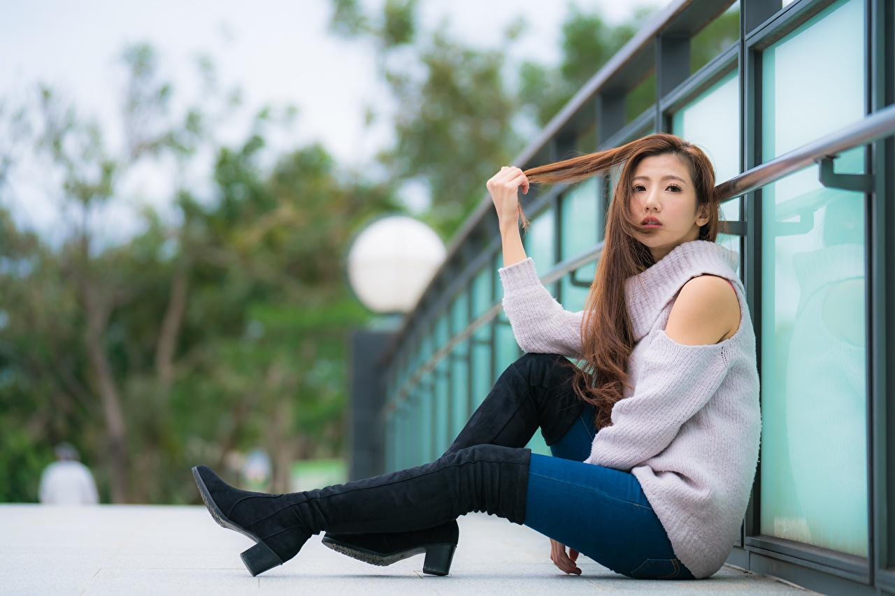 Images Brown haired Wearing boots Girls Legs Asian Sweater sit female young woman Asiatic Sitting