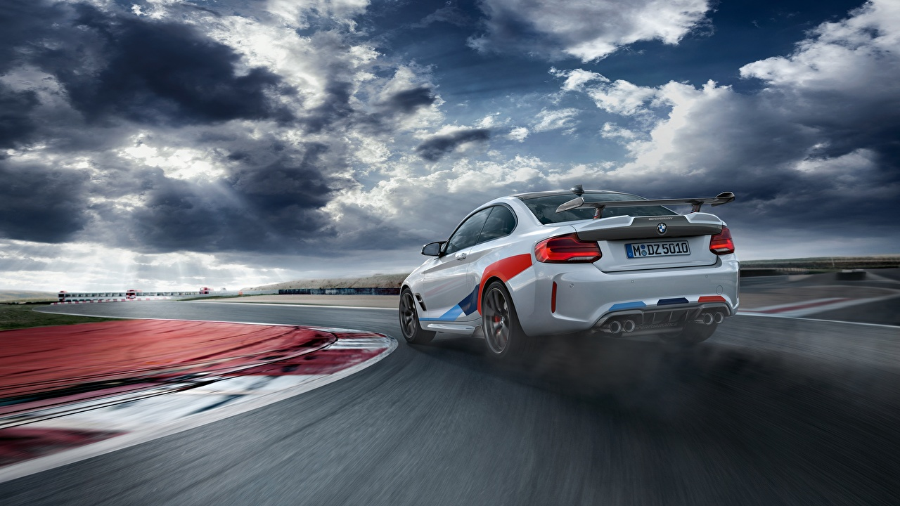 Wallpaper BMW Competition 2018 M2 M Performance White Cars Back view auto automobile