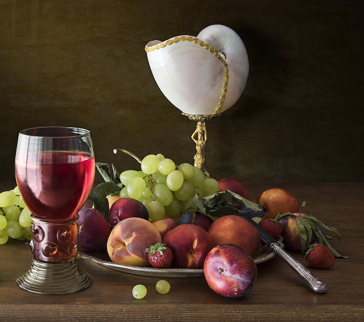 Picture Wine Grapes Peaches Food Fruit Stemware Still-life
