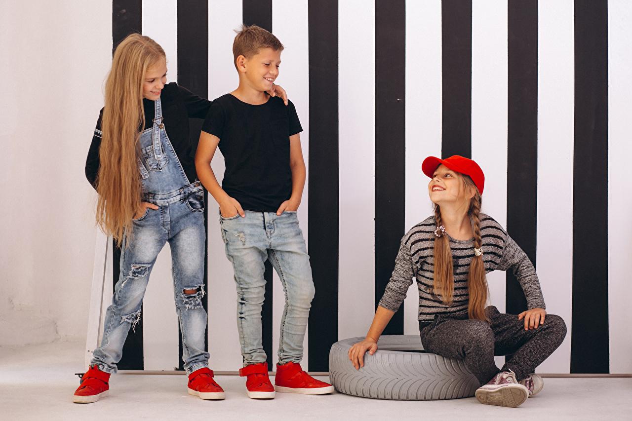 Images Little girls Boys Smile Children Hair Jeans Three 3 Baseball cap child
