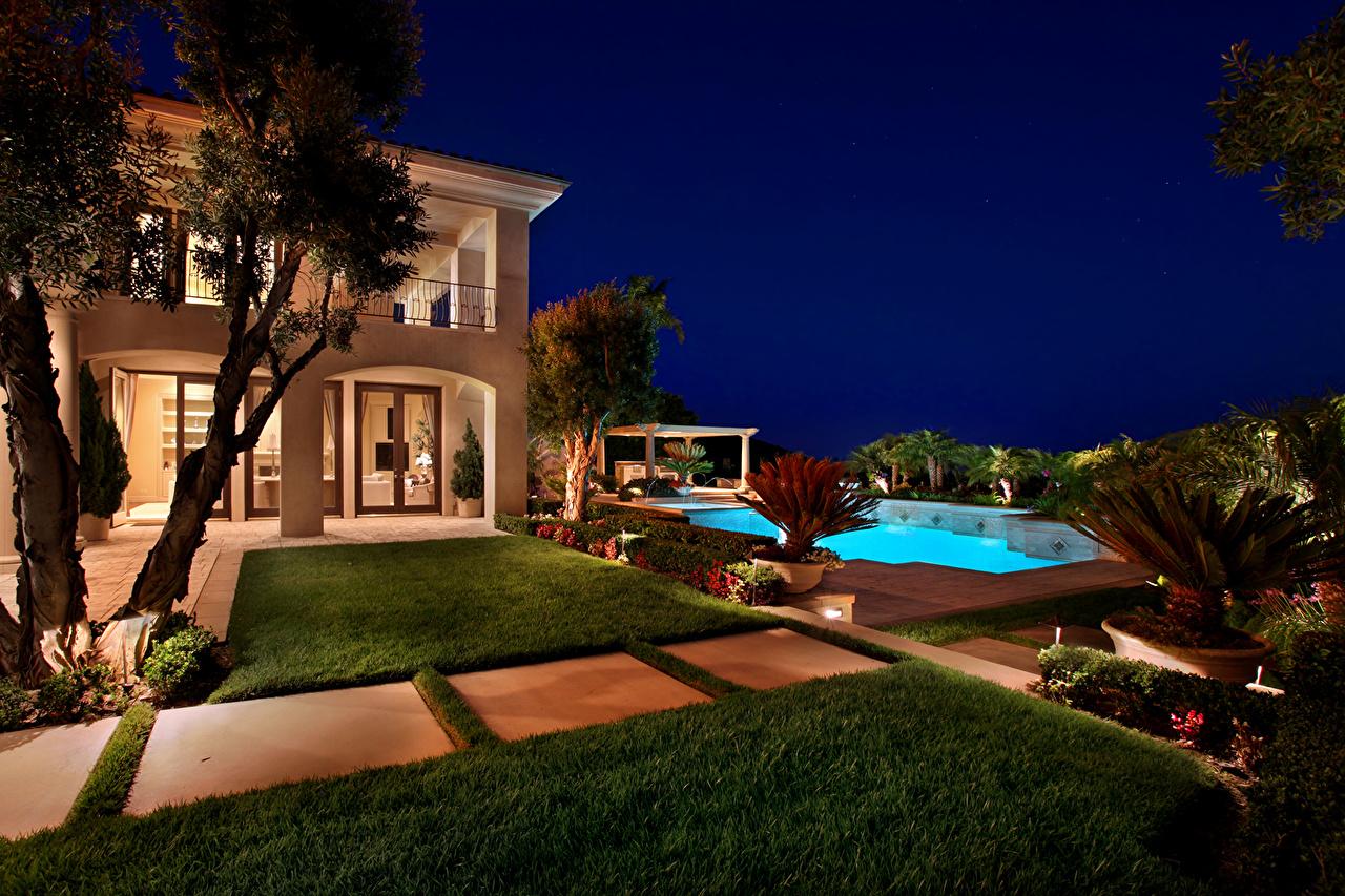 Image Villa USA Pools Fair Harbor Lawn Night Cities Swimming bath night time