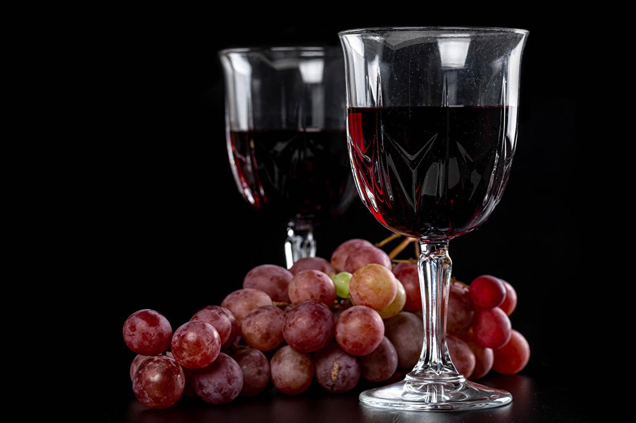 Vino Uvas Fondo negro Vaso de vino Dos comida, 2 Alimentos