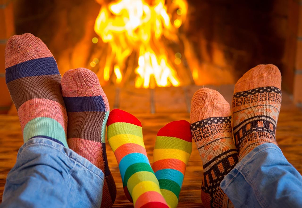 Photos Socks Legs flame Fireplace Fire