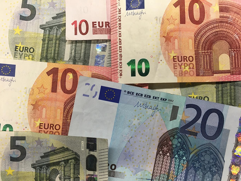 Dinero Papel moneda Euro 20, 10, 5 Billete