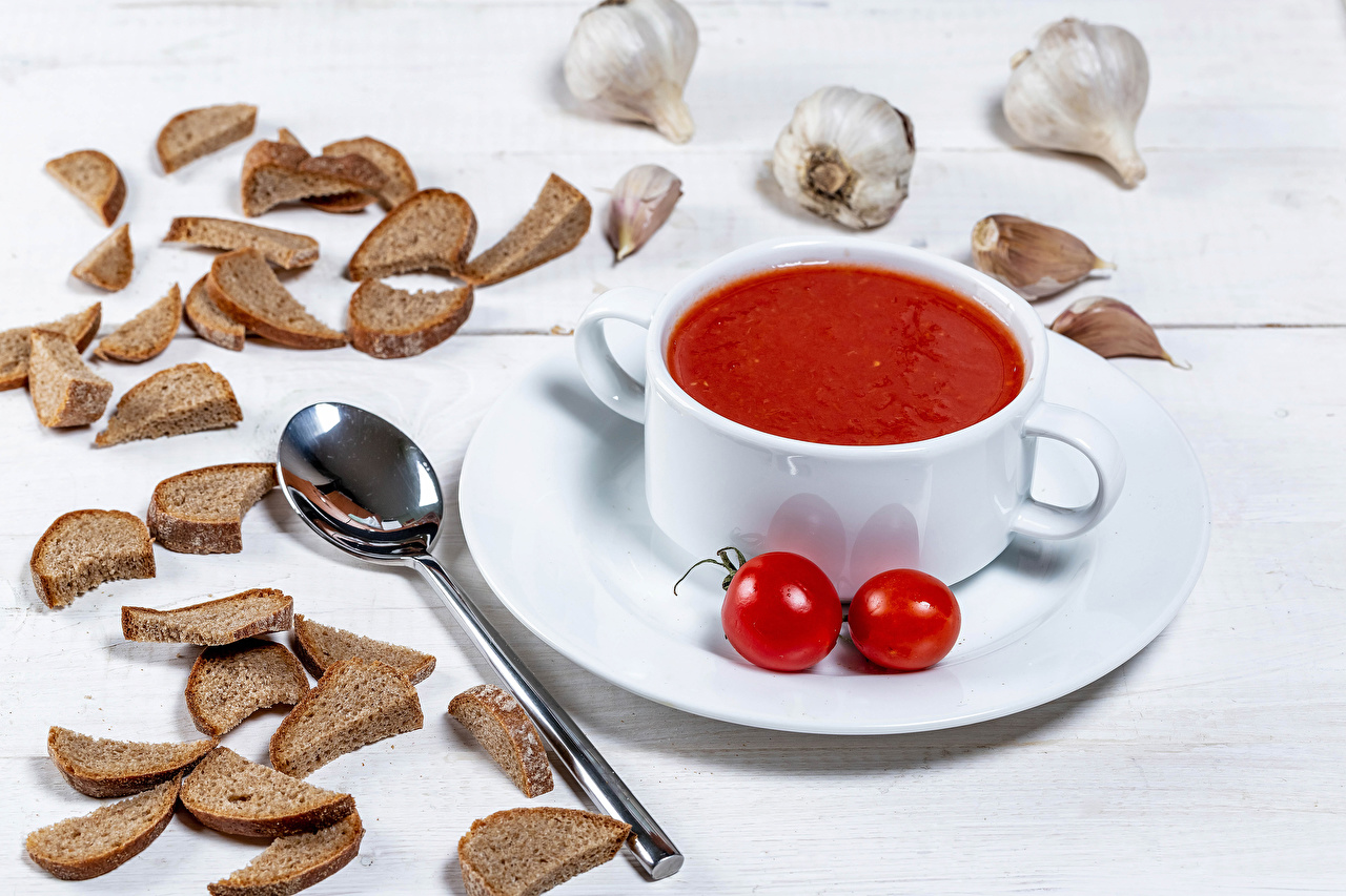 Picture Juice Tomatoes Bread Garlic Food Spoon Plate Allium sativum