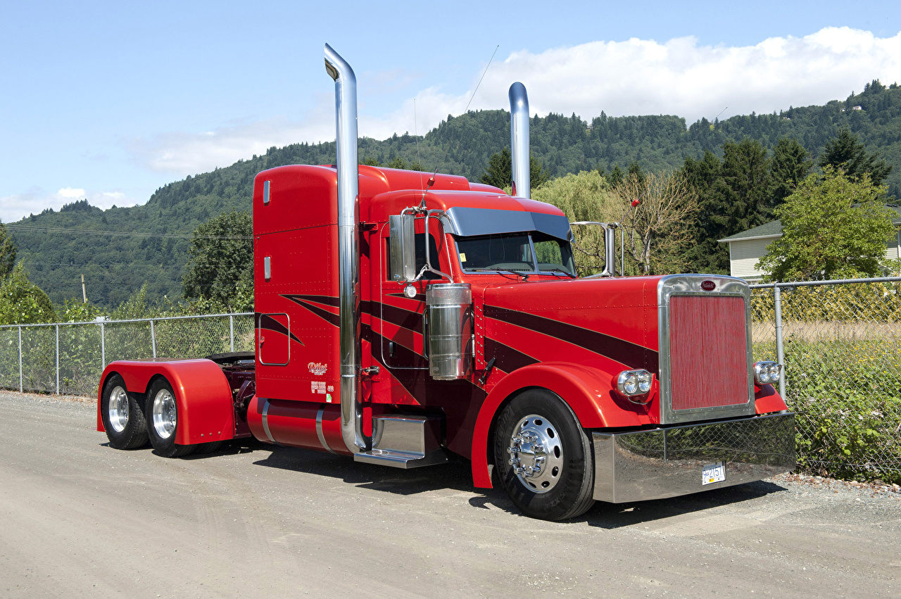 Wallpaper Trucks Peterbilt Red Automobile