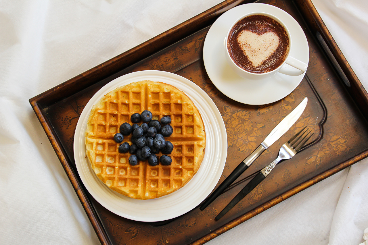 Desktop Wallpapers Food Cup Knife Coffee Cappuccino Blueberries Fork Heart waffle baking Waffles Pastry