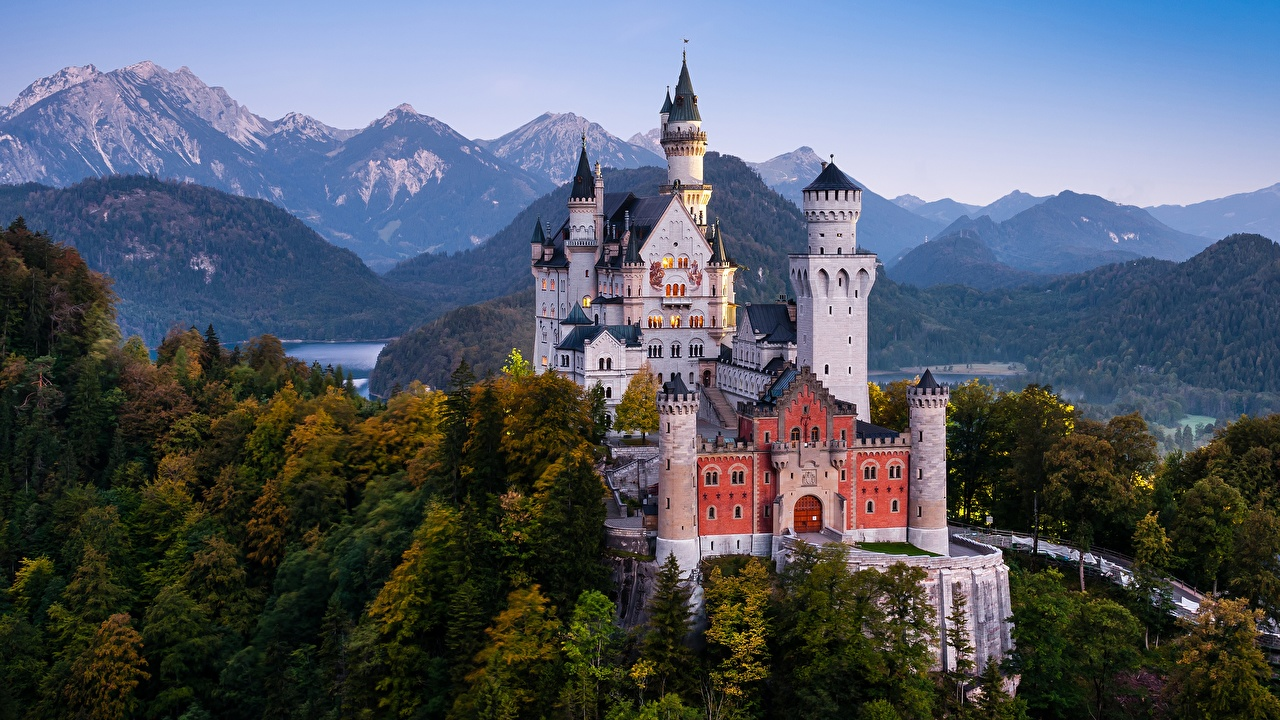 Wallpaper Bavaria Neuschwanstein Alps Germany towers castle Nature Mountains Trees Tower Castles mountain