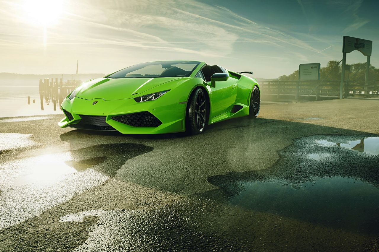 Picture Lamborghini 2017-18 Novitec Torado Huracan LP 610-4 N-Largo Roadster lime color Metallic automobile Yellow green Cars auto