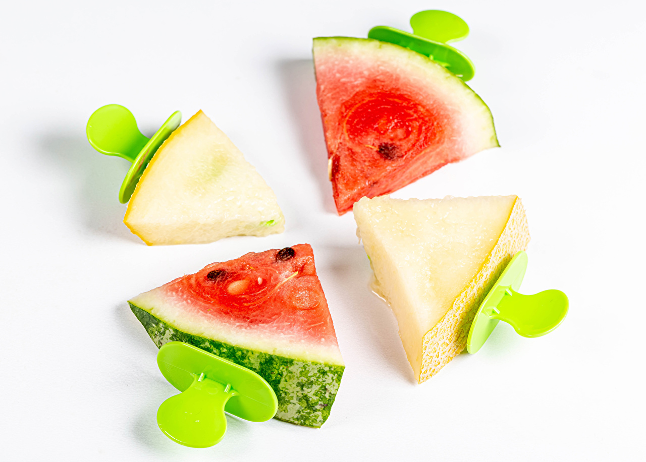Picture pieces Melons Watermelons Food White background Piece