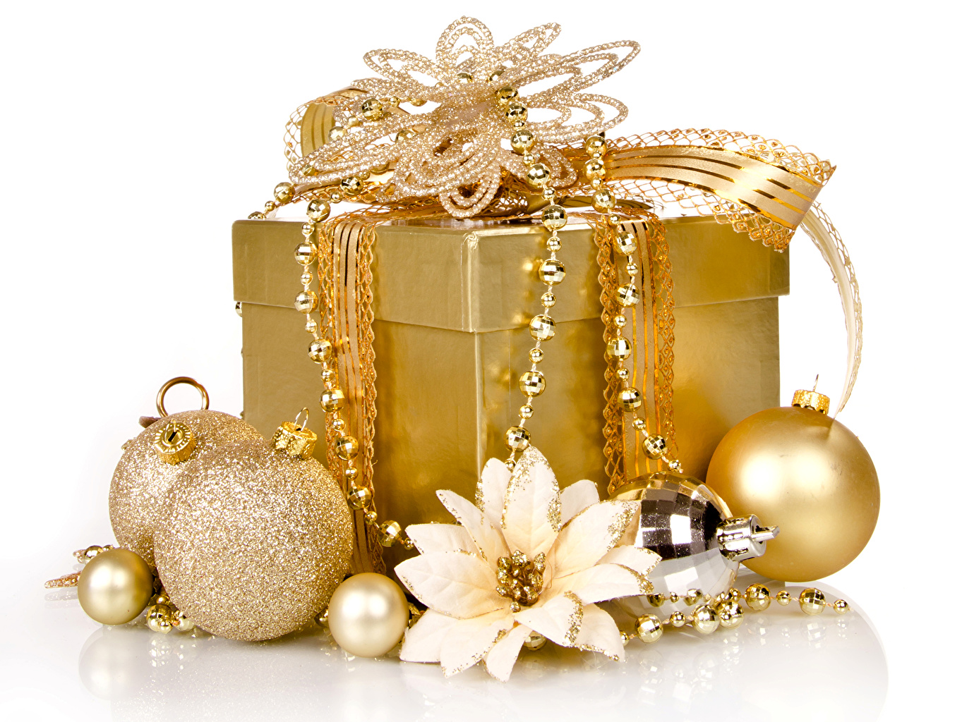 Pictures New year Gold color Box present Balls White background Jewelry Christmas Gifts