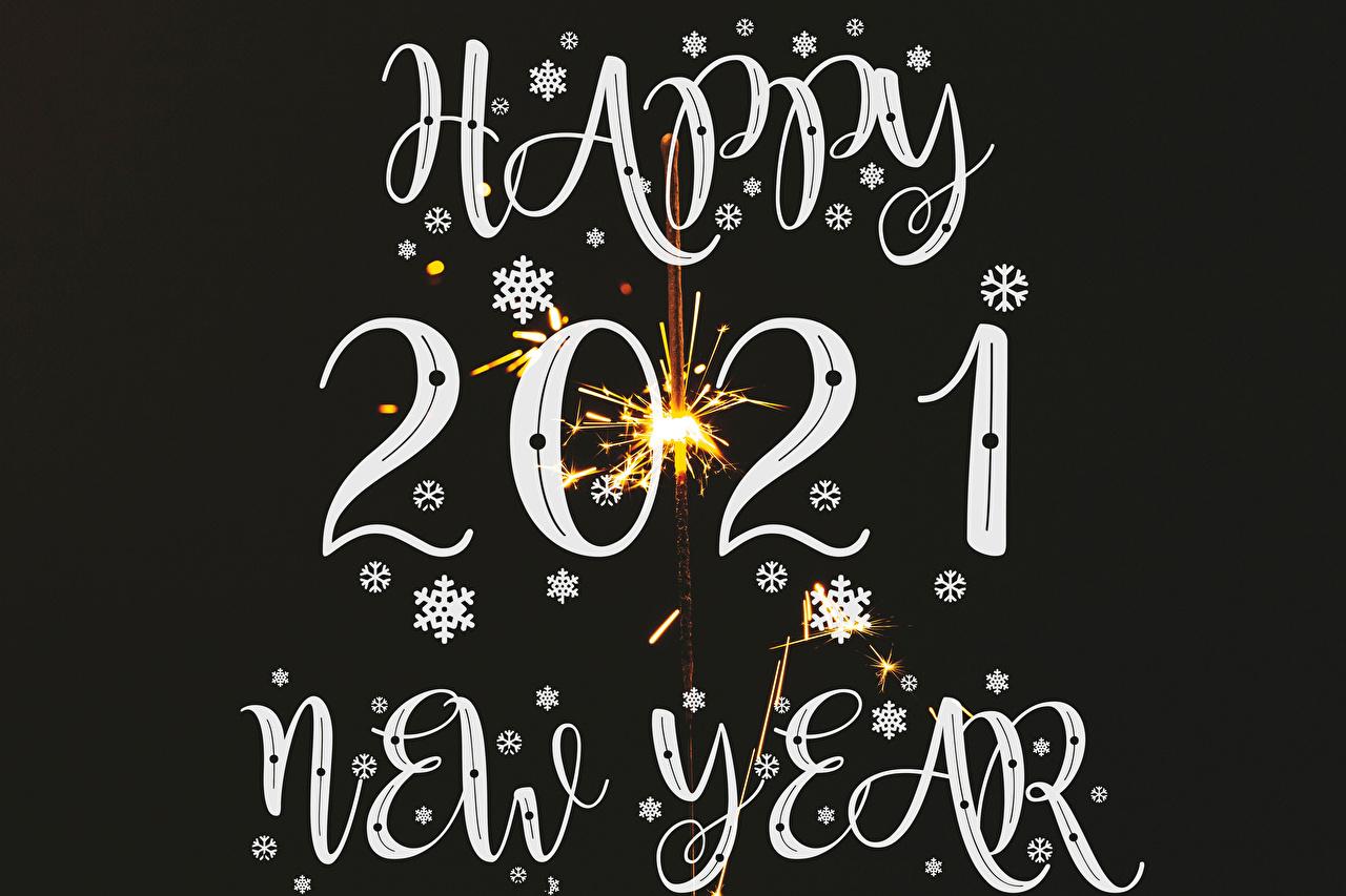 Fotos 2021 Neujahr englische Wunderkerze Schneeflocken text Schwarzer Hintergrund Englisch englischer englisches Wort