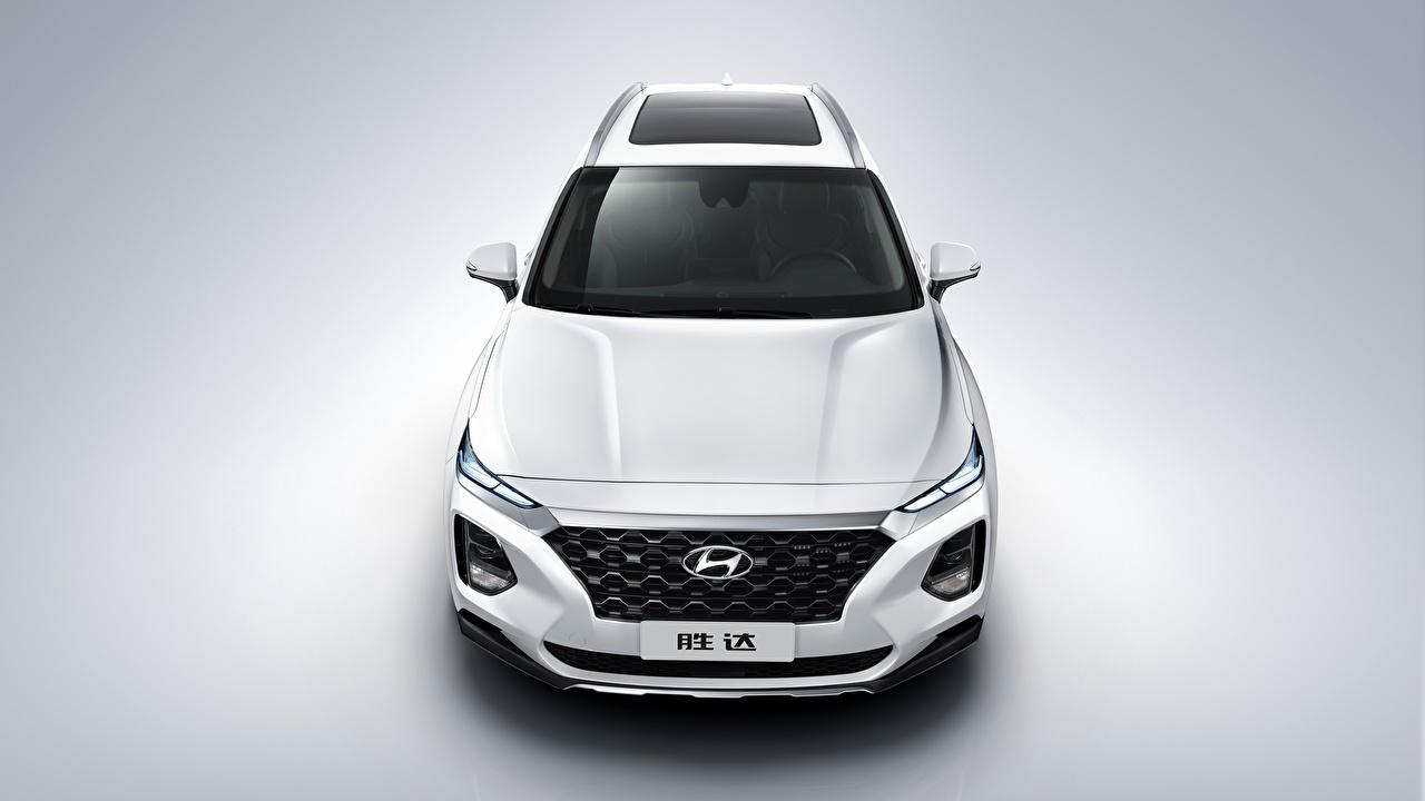 Photos Hyundai CUV Santa Fe 2019 White Front automobile Crossover auto Cars
