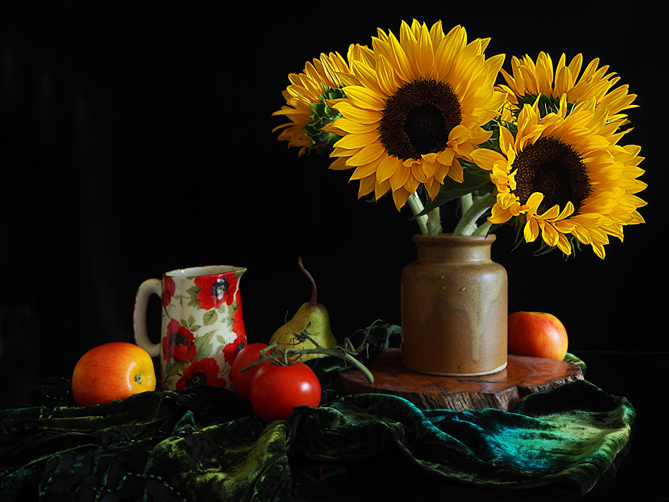 Photo Tomatoes Apples flower pitcher Sunflowers Vase Food Still-life Black background jugs Flowers Helianthus Jug container