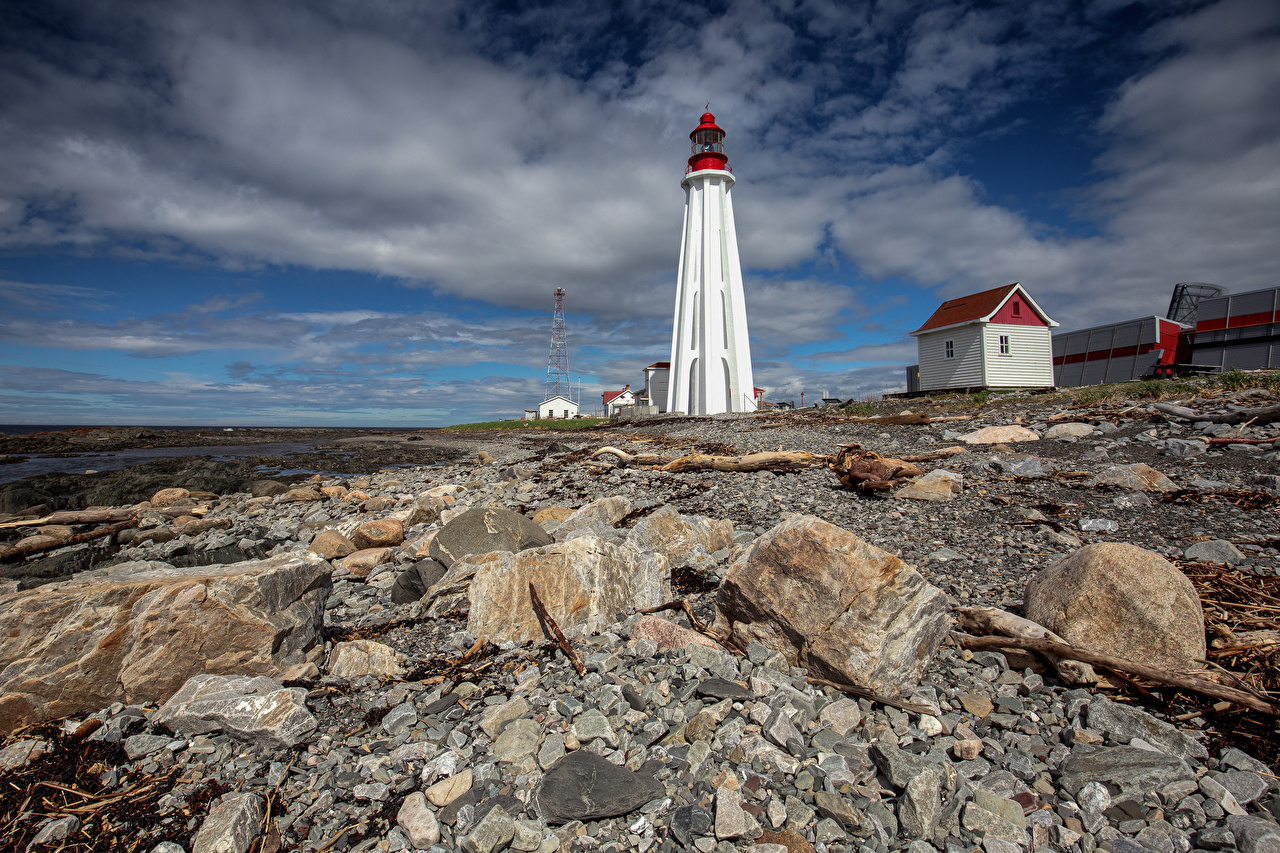 Photo Canada Nature Lighthouses Stones Clouds stone