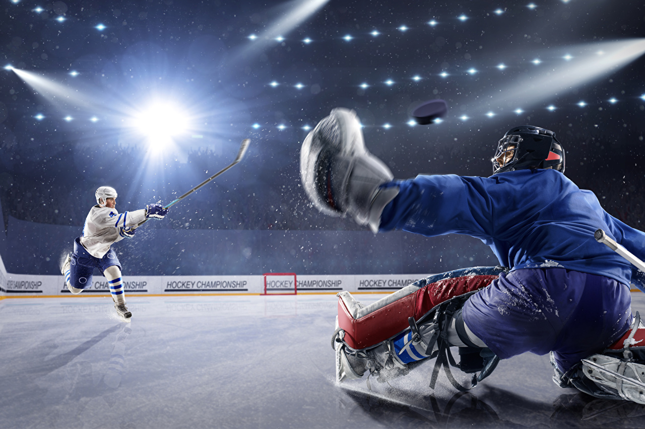 Picture Rays of light Men Ice rink Two Sport Hockey Uniform Man 2