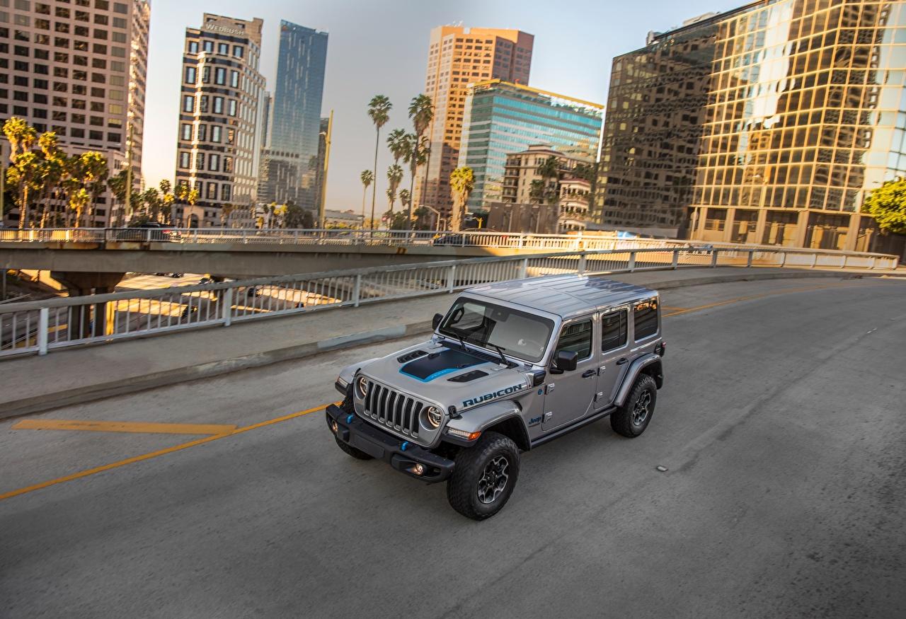 Desktop Hintergrundbilder Jeep Sport Utility Vehicle 2021 Wrangler Unlimited Rubicon 4xe graue Autos SUV Grau graues auto automobil