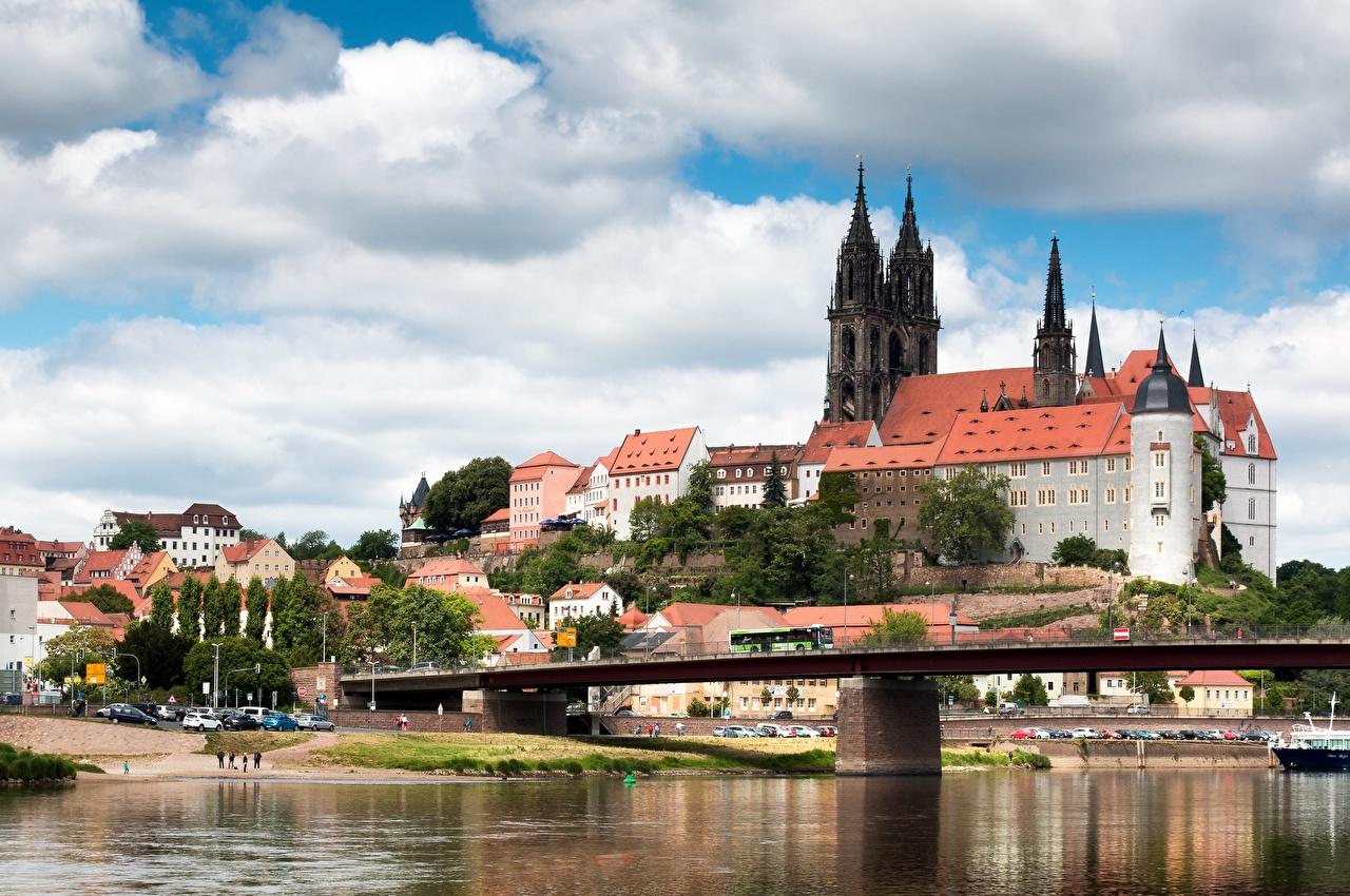 Pictures Germany Albrechtsburg, Meissen, Saxony, Elbe Bridges Castles Rivers Cities bridge castle river