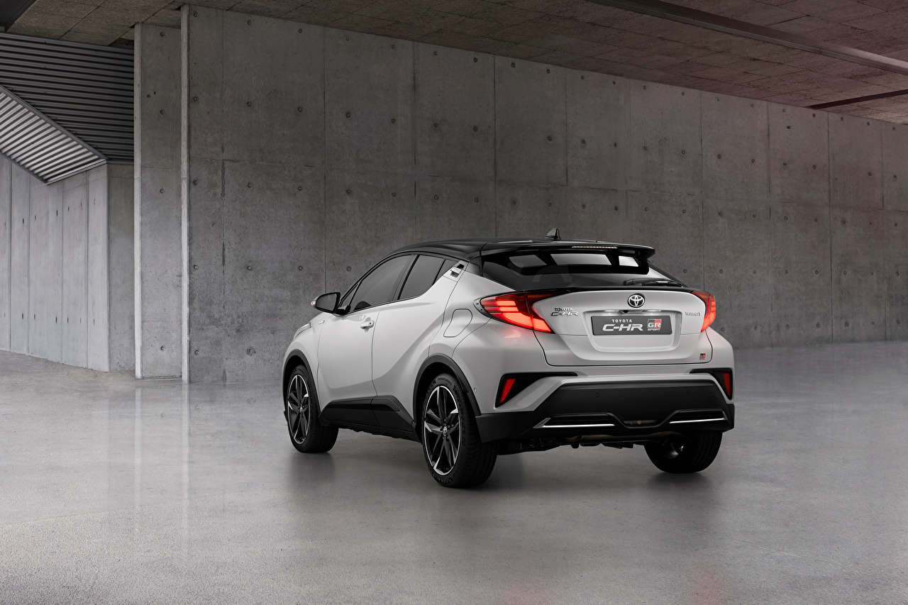 Images Toyota CUV C-HR Hybrid GR Sport, EU-spec, 2020 White Cars Metallic Back view Crossover auto automobile
