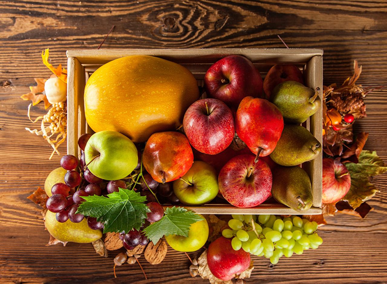 fotos herbst birnen melone Äpfel weintraube obst lebensmittel
