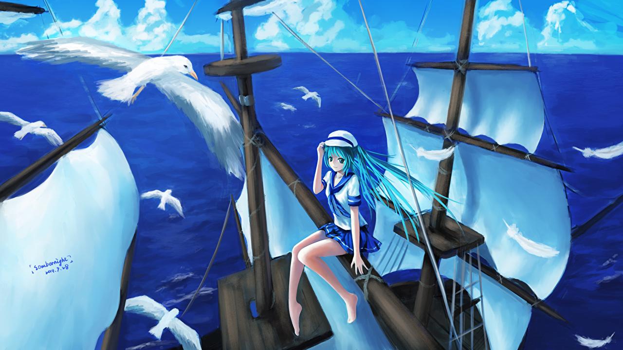 Immagini Vocaloid Hatsune Miku uccello Gabbiani sombernight Mare Anime Ragazze Nave Veliero Animali aves Uccelli ragazza giovane donna giovani donne navi navi a vela animale