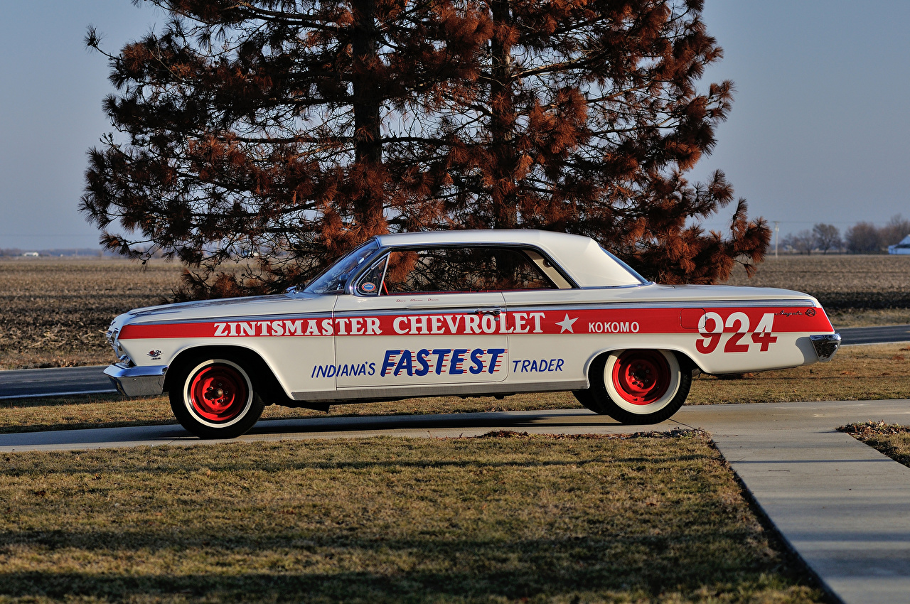Wallpaper Tuning Chevrolet 1962 Impala SS 409 Lightweight Coupe Retro White Side Cars vintage antique auto automobile