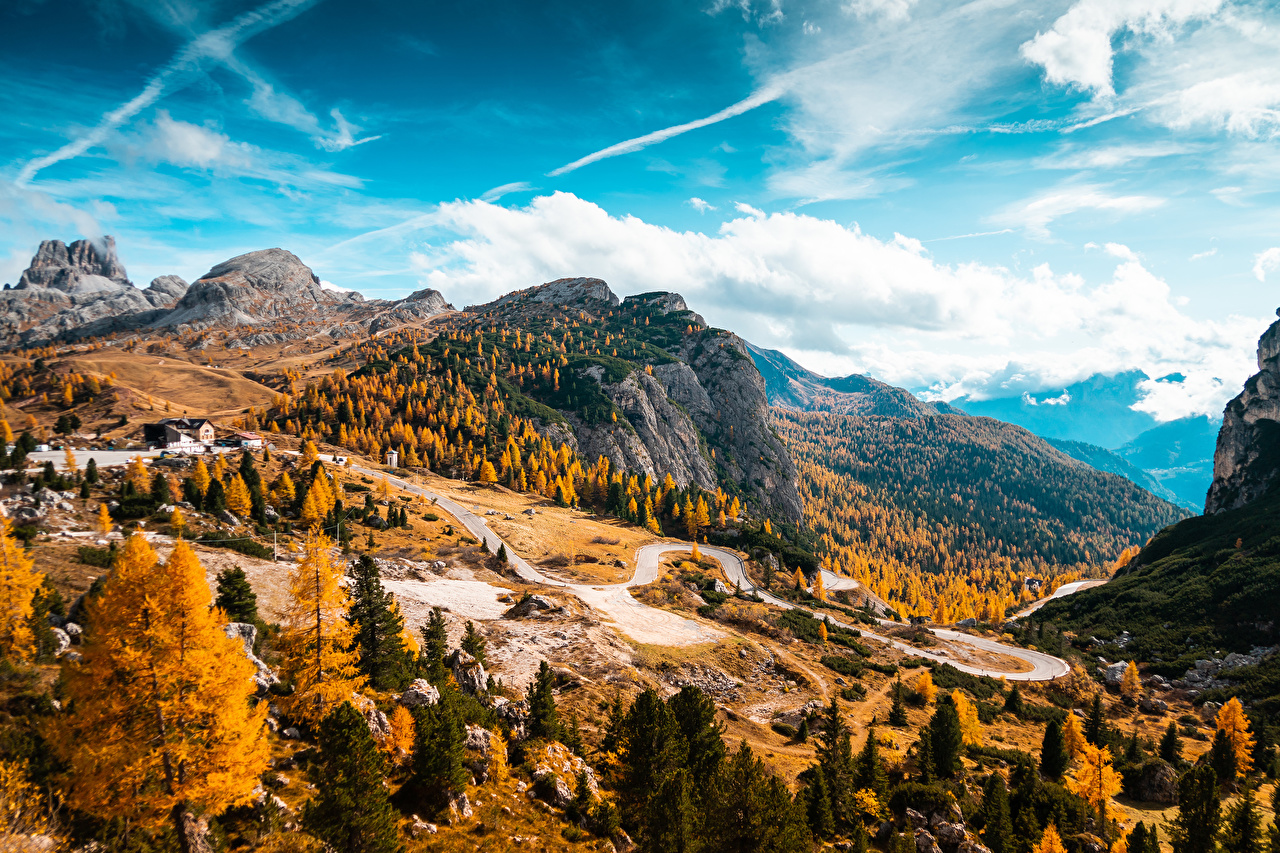 Picture Italy Falzarego Pass, Dolomites Autumn Nature mountain Roads forest landscape photography Mountains Scenery Forests