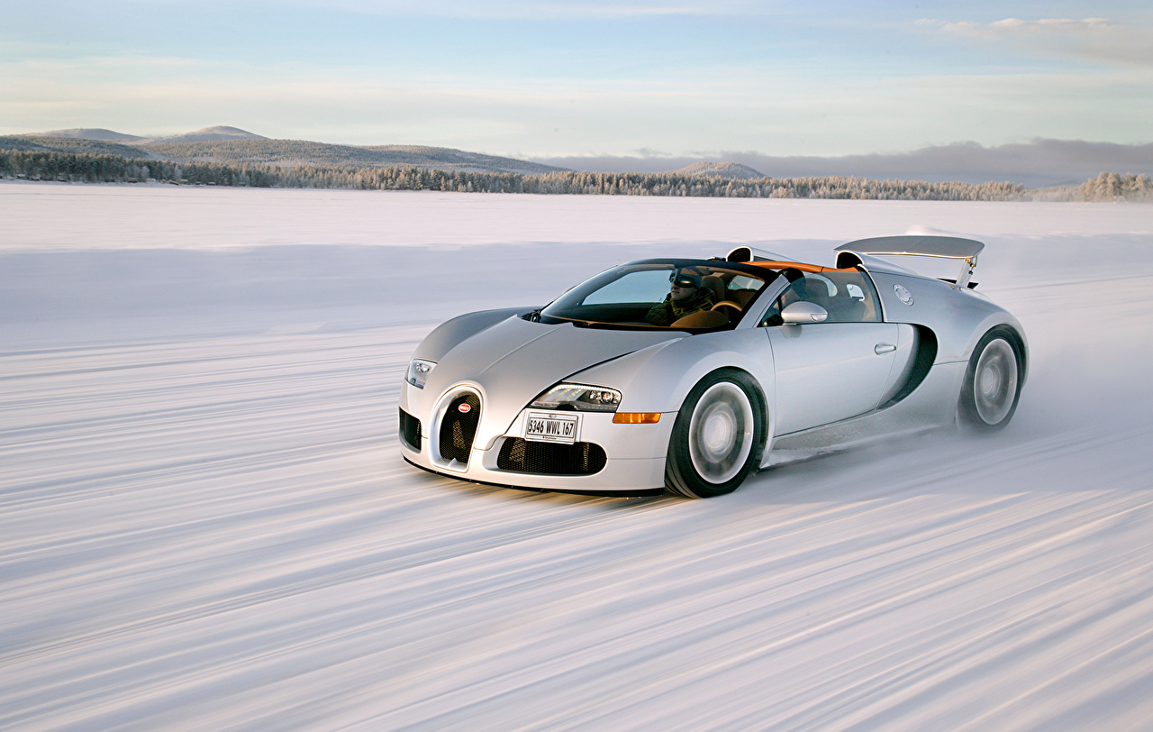 Image BUGATTI Luxury Roadster White Snow moving automobile luxurious expensive Motion riding driving at speed Cars auto