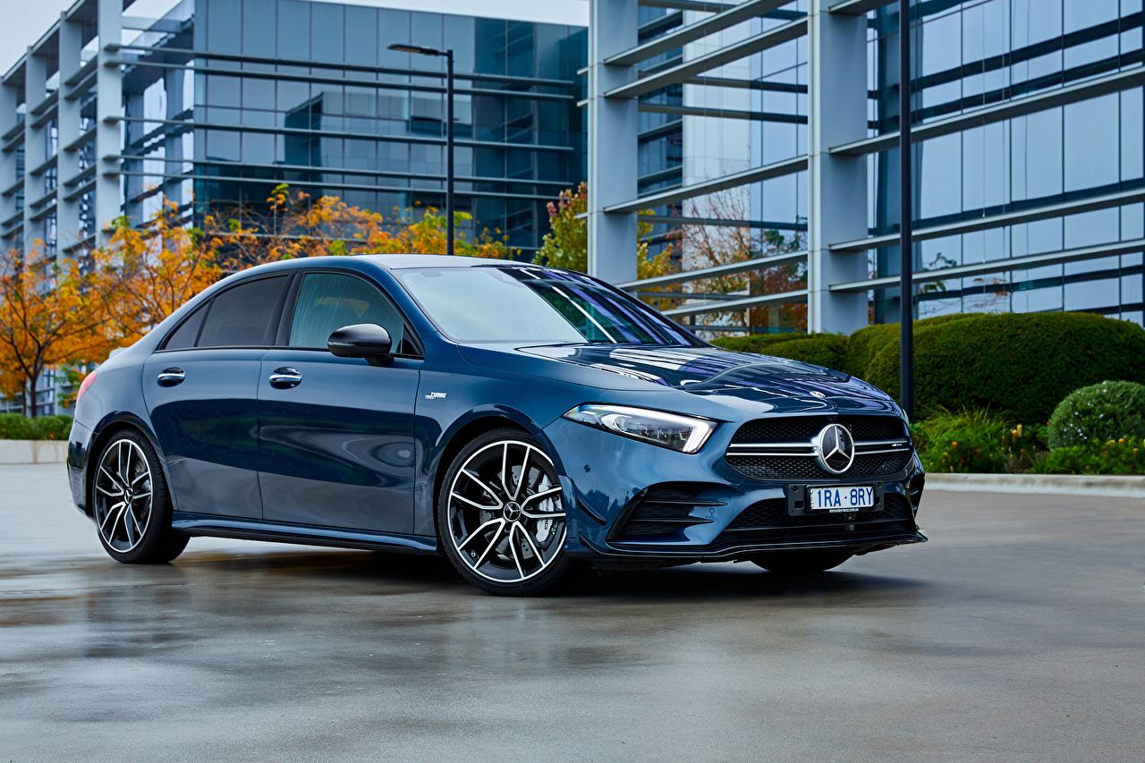 Images Mercedes-Benz 2020 AMG A 35 4MATIC Sedan Blue Metallic automobile auto Cars