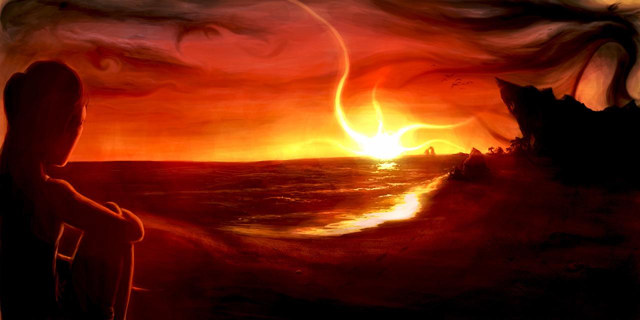 Hintergrundbilder Fantasy Sonnenaufgänge und Sonnenuntergänge Küste Fantastische Welt