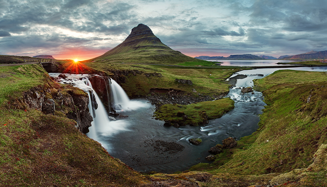 Photos Iceland Nature Mountains Waterfalls Scenery Sunrises and sunsets Grass Rivers mountain sunrise and sunset landscape photography river