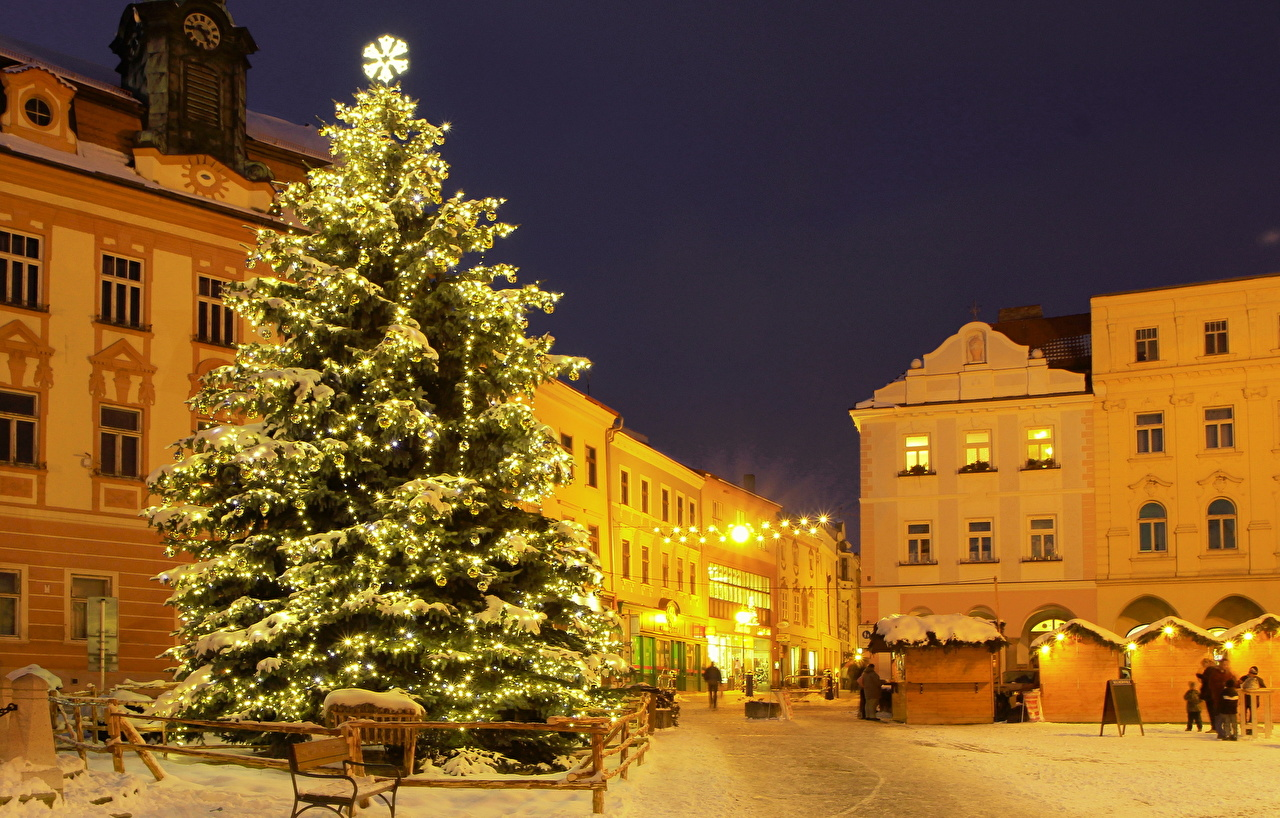 Images Czech Republic HDRI New Year tree Night Trees Houses Cities HDR Christmas tree night time Building