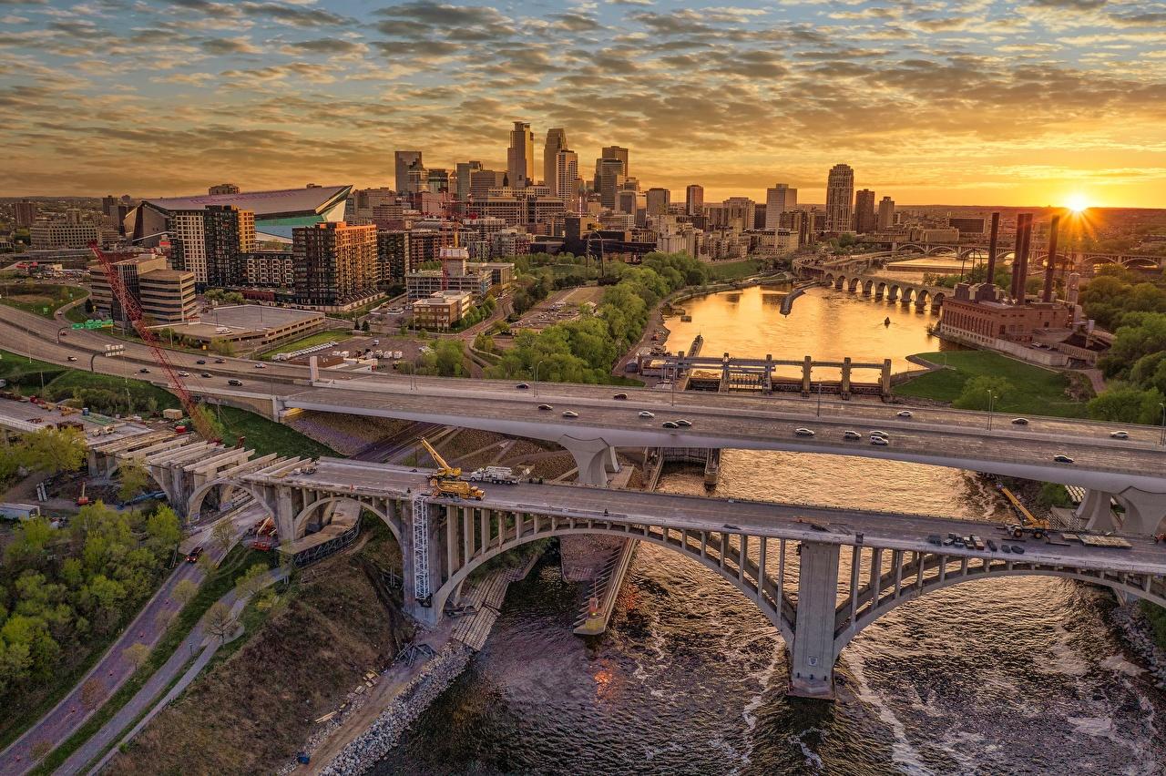 Fotos USA Minnesota, Minneapolis, Mississippi River Brücke Sonnenaufgänge und Sonnenuntergänge Haus Städte Vereinigte Staaten Brücken Morgendämmerung und Sonnenuntergang Gebäude