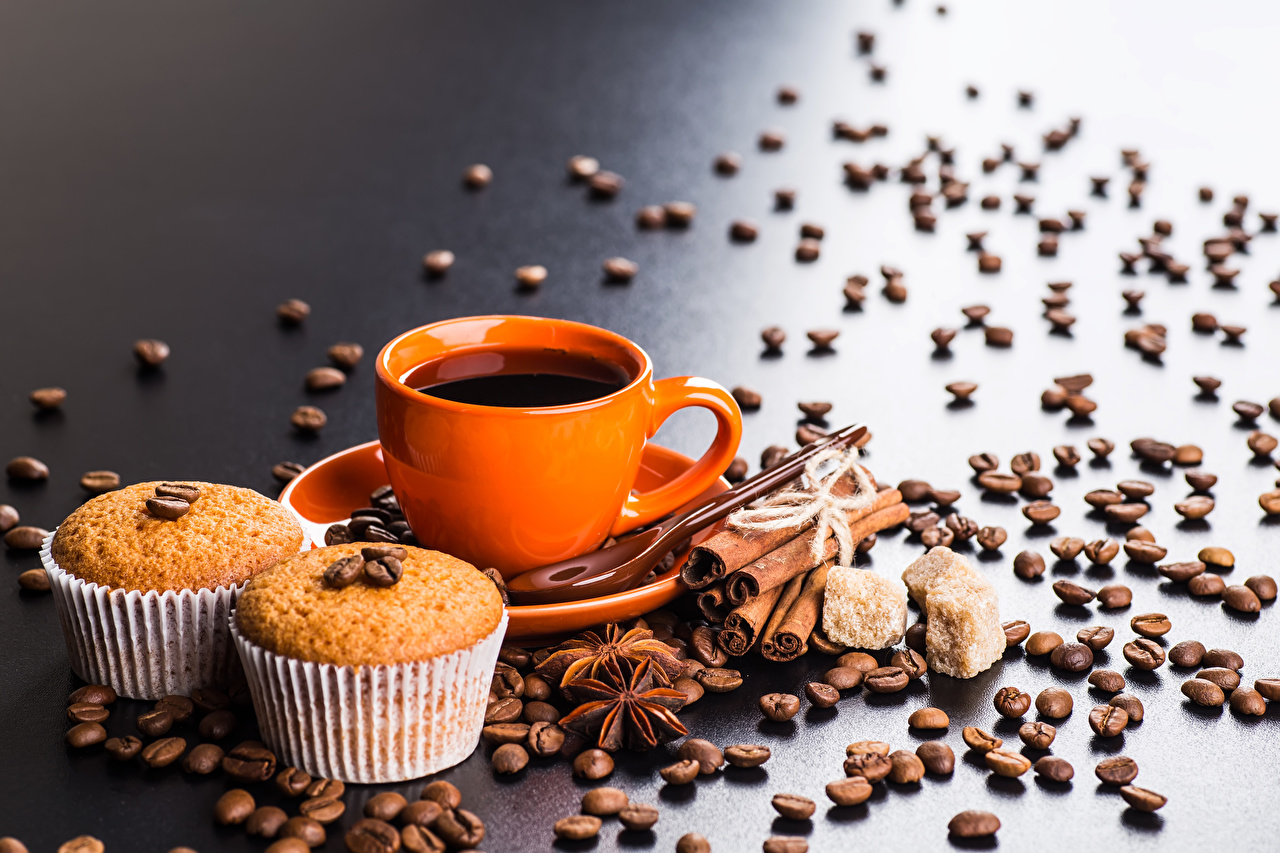 Picture Coffee Pound Cake Star anise Illicium Grain Cinnamon Cup Food