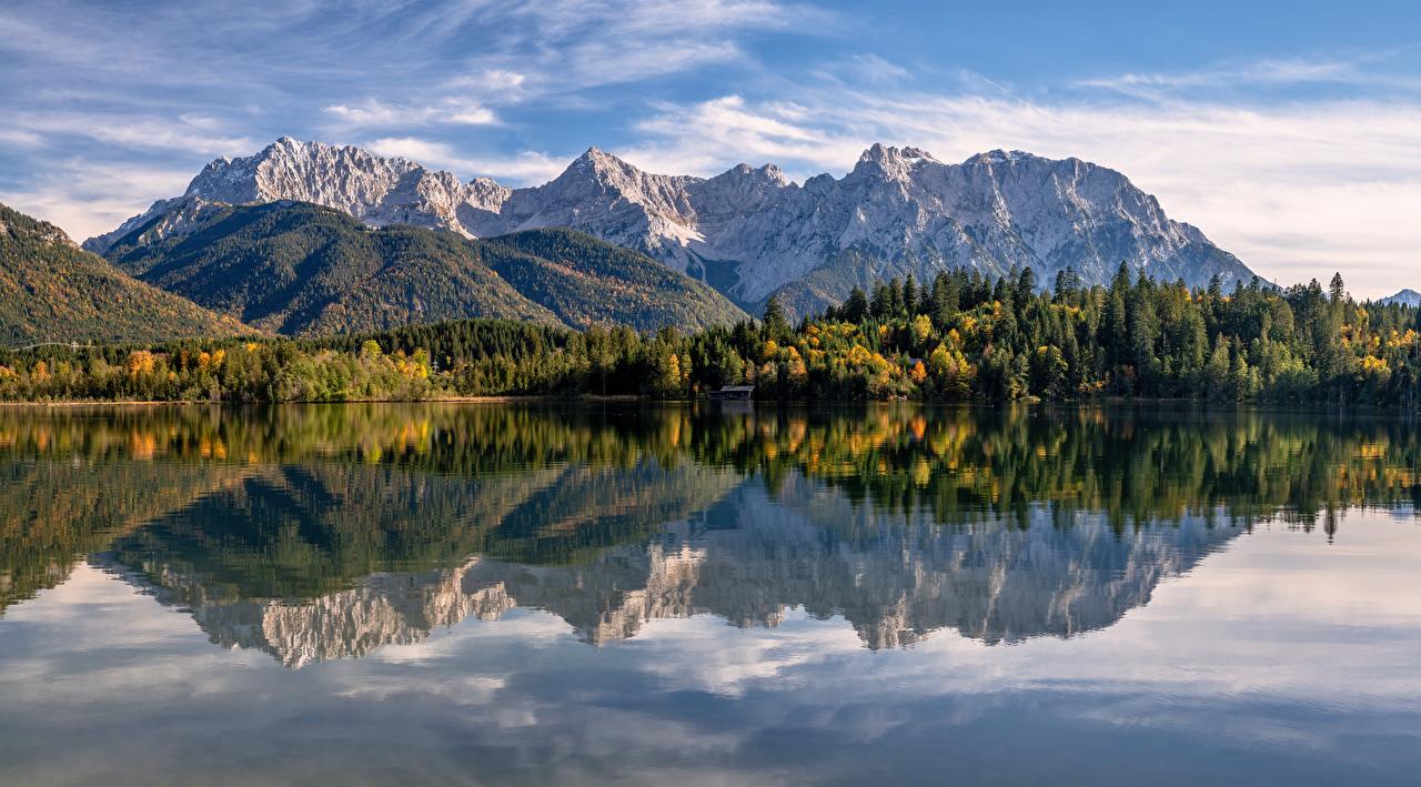 Image Nature Alps Germany panoramic Karwendel Autumn Bavaria mountain Panorama Mountains