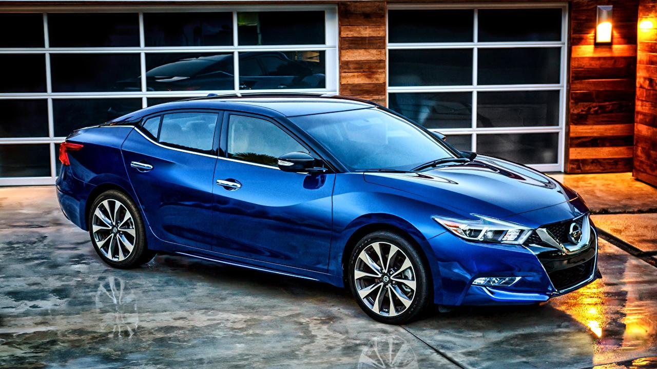 Wallpaper Nissan 2015 Maxima Blue auto Cars automobile