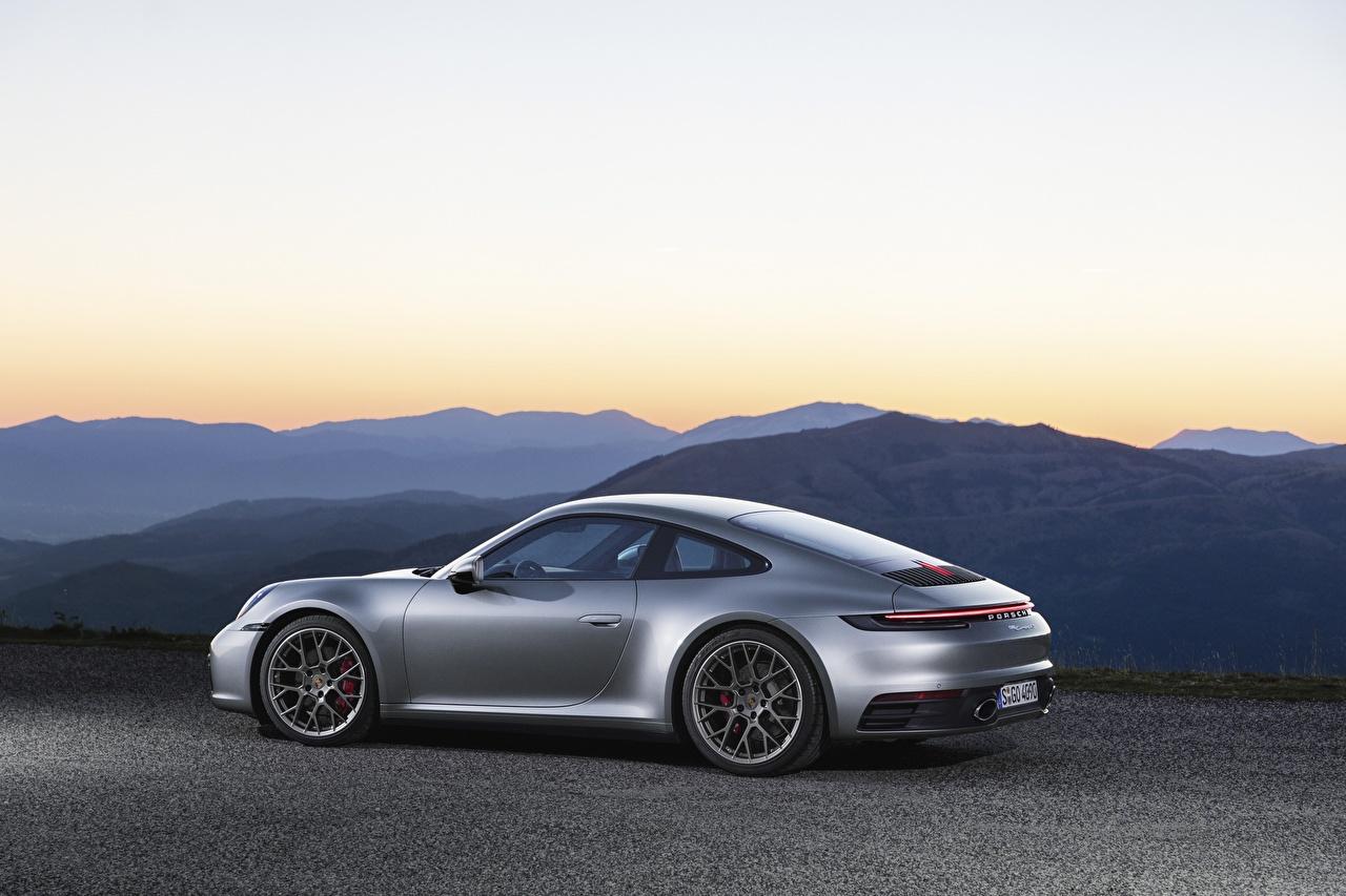 Photo Porsche 911, Carrera 4s, 2019 Coupe Silver color Side auto Metallic Cars automobile