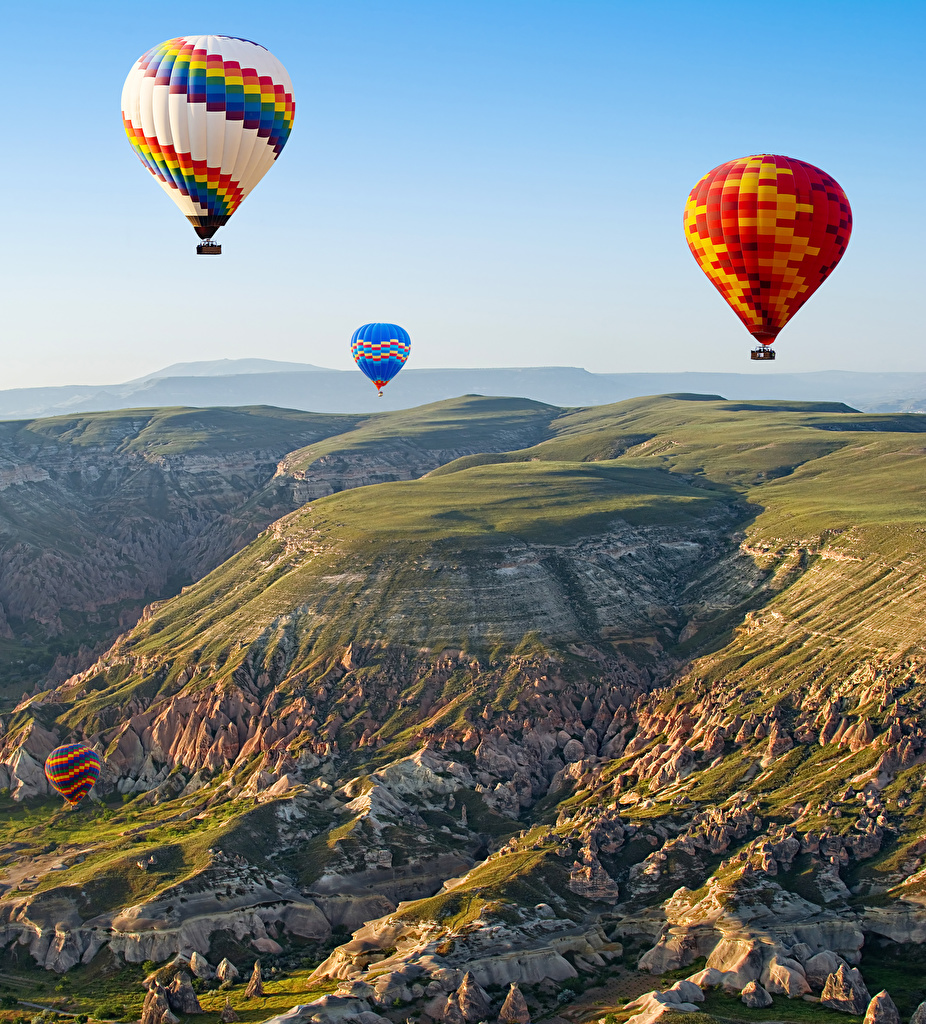 Hintergrundbilder Türkei Fesselballon Cappadocia Natur Gebirge Himmel