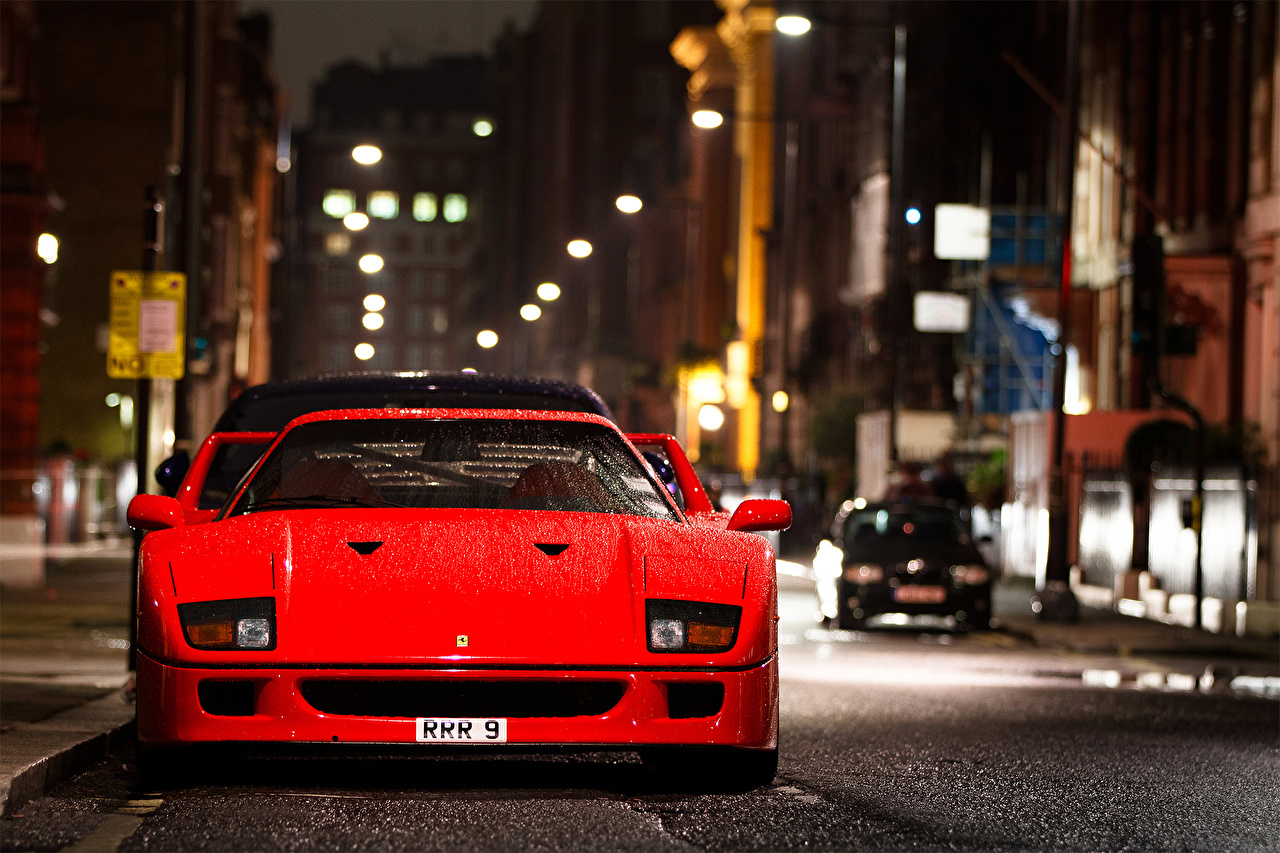 Images Ferrari F 40 Red Cars Front Cities auto automobile