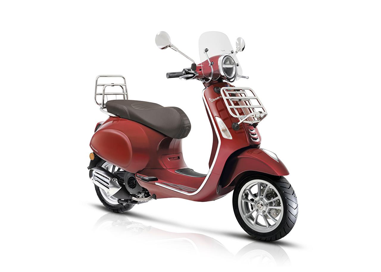 Bilder Motorroller Vespa Primavera 125 Touring, 2018- Rot Motorrad Weißer hintergrund Motorräder
