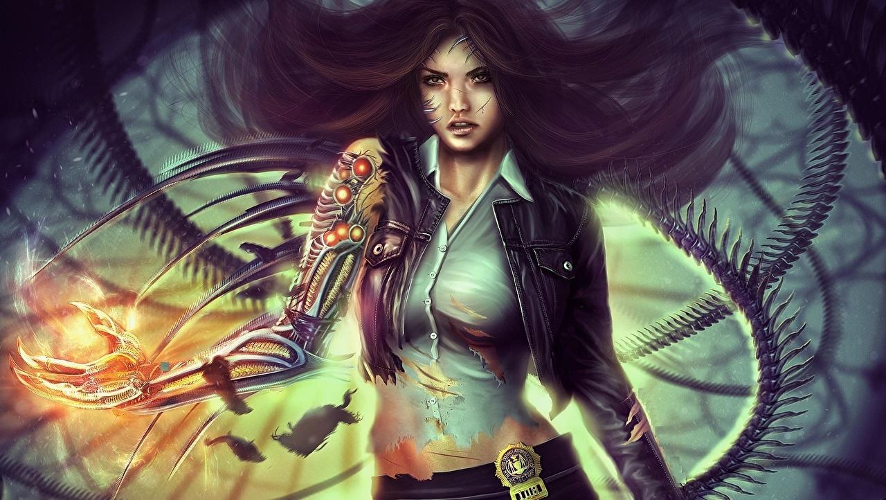Images robots Warriors Girls Jacket Fantasy Formal shirt Technics Fantasy Robot warrior female young woman